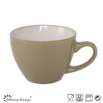 8oz cerâmica sopa caneca dentro branco fora vitrificada