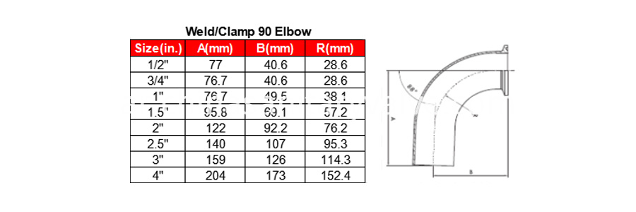 Weld Clamp Elbow Drawing