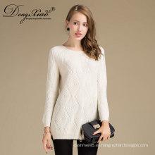 Ropa de primavera de la moda de las mujeres Ropa de primavera blanca de punto de cachemira O-Neck Sweater