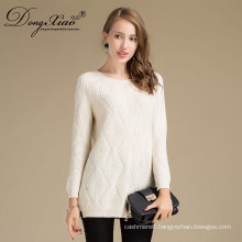 Women'S Fashion Spring Clothing White Cashmere Knit O-Neck Sweater