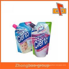 Standup líquido detergente embalagem saco com bico, impressão bico bolsa de plástico