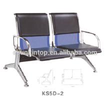 Dos sillas de asiento para uso comercial, para oficina / hospital, apoyabrazos de aluminio y patas de acabado (KS5D-2)