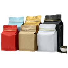 250g 500g 12oz 1kg Wholesale Custom Print Black Side Gusset Stand Up Pouch Zip lock With Valve Zipper Flat Block Bottom Coffee