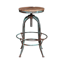 Industrial Vintage Bar Stools Metal Wood Top