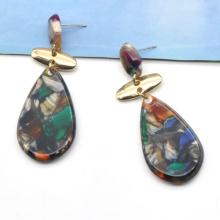 Colorful acetate ear ring jewelry for western women tear drop shape rainbow earrings