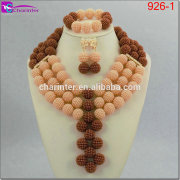 african crystal beads jewelry set african beads jewelry set african beads coral jewelry set necklace 926-1
