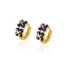 22677 Fashion Popular Dark Blue CZ Diamond Imitation Jewelry Earring Huggies in 14k Gold-Plated