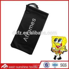 Microfibra negro suave gafas de sol bolsa de teléfono celular, bolsa de tela de sol personalizado de la tela, bolsa de la tela de la insignia sunglass