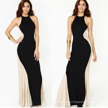 Sexy Strapless Splicing Black Womens Maxi Wedding Dress 2015