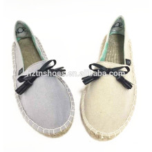 Lovely bowtie casual shoe espadrille women china hemp sole shoe