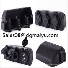 Wasserdichte 12V 24V drei Zelt Dul Zigarettenanzünder und Dul USB Car Charge für RV Car / Ship Modifikation