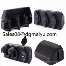 Waterproof 12V 24V Three Tent Dul Cigarette Lighter Socket and Dul USB Car Charge for RV Car/Ship Modification
