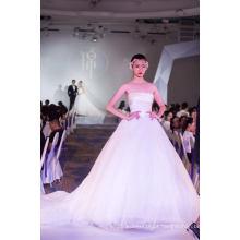 Cetim applique ballgown nupcial roupas vestido de noiva