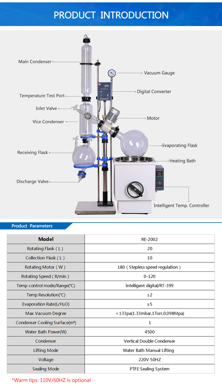 20L Condenser Rotary Evaporator for Distillation