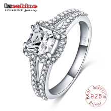 925 Sterling Silber Inlay Platz Zirkon Verlobungsring (SRI0004-B)