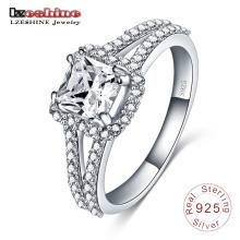 925 prata esterlina inlay anel de noivado zircão quadrado (sri0004-b)