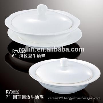 Hotel & Restaurant white ceramic plates, dinner crockery plates, porcelain plates wholesale