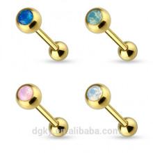 Ouro PVD anéis barbell de língua opala KaiYu Jóias