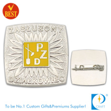 Pzd Metal High Quality Die Stamping 3D Pin Badge with Silver Color