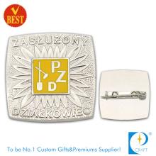Pzd Metal de alta qualidade morrem 3D Badge Pin com cor de prata