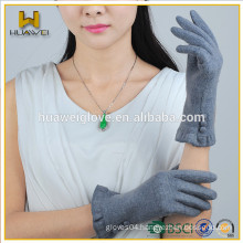 Hot Sale Grey Women Wool Gloves,Smart Touchscreen Wool Gloves with Buttons on the Wrist