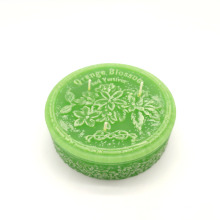 OEM shaped embossed glass candle jar for soy candle
