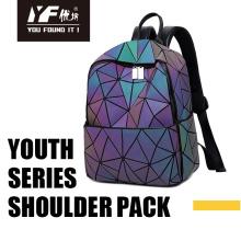 Светящаяся женская сумка с геометрической лазерной резкой, большая дорожная школьная сумка для девочек-подростков