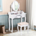 Vanity Wood Makeup Dressing Table Stool Set Jewelry Desk W/ Drawer &Mirror bathroom White