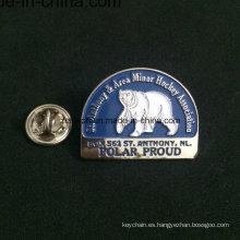 Insignia redonda personalizada del Pin del nombre del metal con la cuerda diseñada