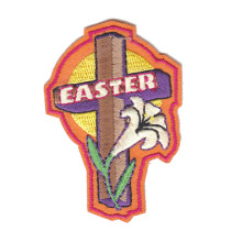 Easter Cross and Lily PVC Embroidery Emblem