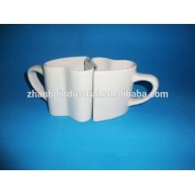 Amazing heart shaped couple mugs, porcelain couple mug with OEM design