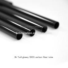 El tubo ligero tejido superficie cruzada tejida sarga de la fibra de carbono 3k cnc que corta 500m m 600m m 1000m m