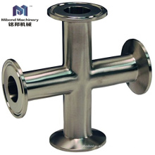 Instalación de tuberías cruzada sanitaria de la manera de la abrazadera 4 del acero inoxidable de la categoría alimenticia SS304 / 316L