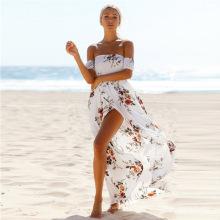 Las mujeres del verano beach gasa dividir frente vestidos casuales elegante mujer de una sola pieza vestido