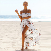 Лето женщины пляж шифон сплит передняя повседневные платья женщина элегантный цельный платье