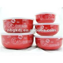 color enamel bowl sets with PP lid