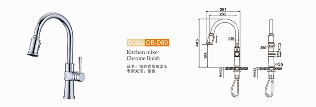 Pull Out Kitchen Sink Faucet Ob D69