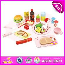 2014 neues hölzernes Spielzeug-pädagogisches Spielzeug für Kinder, populäres hölzernes vortäuschen Spielzeug für Kinder, Rollenspiel-Spielzeug-Mittagessen-Spielzeug für Baby-Fabrik W10b022