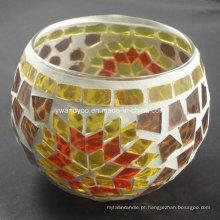 Suporte de vela do mosaico da folha de bordo