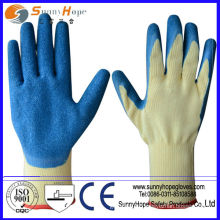 Blue latex coated gloves with crinkle finish