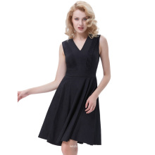 Belle Poque color sólido retro vintage sin mangas con cuello en V A-Line Negro One Piece 50s 60s Swing vestido BP000384-1
