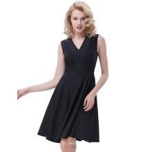 Белль некоторые из них имеют сплошной Цвет Ретро старинные рукавов V-образным вырезом черный один кусок 50-х 60-х качели платье BP000384-1