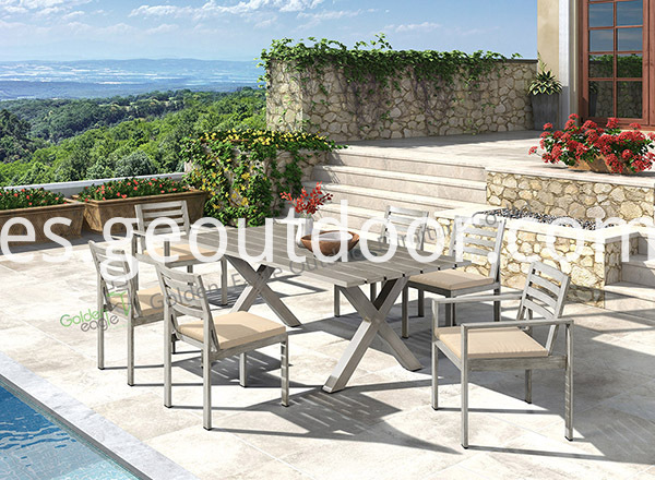 outdoor aluminium dining table and chair