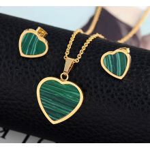 Mode Malachit Heart Shape Bröllopsmycken Set