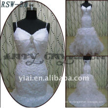 RSW-20 2011 Hot Sell New Design Ladies Fashionable Elegante Customized Beautiful Lace Ruffle A linha de vestido de noiva