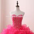 Rose rot elegante Designs Perlen Ballkleid Brautkleider Braut aus Schulter Schatz Ausschnitt geschwollen Brautkleid 2017