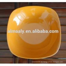 placa de fruta cuadrada de cerámica colorida, placa de porcelana esmaltada