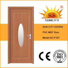 Puerta interior de PVC MDF con diseño de vidrio (SC-P167)