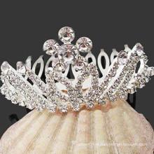 Moda acessórios de cabelo prata banhado a coroa de cristal cabelo barrette pente