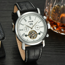 oem automatic watches men fashion leather clock